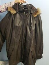 FIELD GEAR Brown Leather Winter Jacket Coat Raccoon Fur trim Hood Womens sz XL