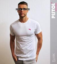 Pistol Boutique mens White Crew neck CHEST LOGO BLANK fashion Tshirt SALE Small