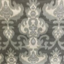 Ikat shades of gray cream jacquard fabric by the yard pillow drapery designer