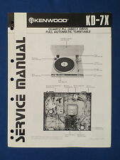KENWOOD KD-7X TURNTABLE SERVICE MANUAL ORIGINAL FACTORY ISSUE GOOD CONDITION