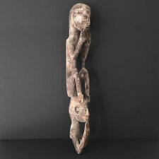 Asmat Male Sitting on Ancestor's Head A New Guinea Tribal Artifact Carving –LF20