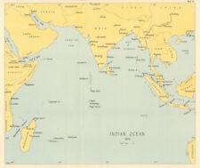 Indian Ocean in 1944. World War 2. Naval fleet bases 1961 old vintage map