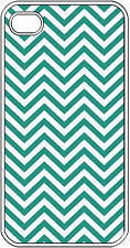 Chevron Teal Blue Designed iPhone 4 4s Hard White Case Cover