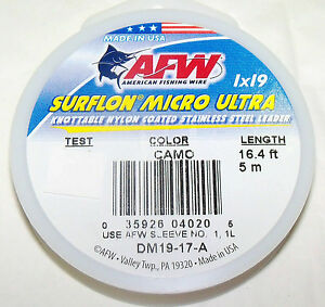 61LB, AFW SURFLON ULTRA 1X19 COATED-KNOTABLE-STAINLESS STEEL WIRE