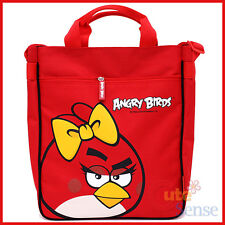 """Angry Birds Canvas Tote Bag 13"""" Shoulder Bag -Red Bird with Bow Rovio Licensed"""