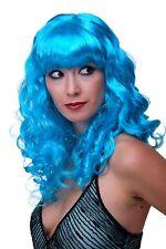 Faschingsperücke Damen Perücke Karneval Locken Lang Pony Blau Popstar LM142-PC40