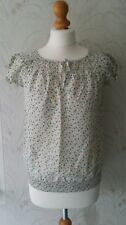 Zara Basic Cream Green Pink Yellowy Floral Top Size XS would fit 10-12