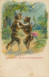 Two Cats Dancing Sweetheart, Will You Stroll By My Side Highly Embossed Postcard