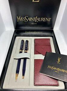 Auth YVES SAINT LAURENT YSL Ballpoint Pen, Mechanical Pen & Leather Case Set