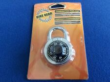 Lock: Bike Gear round combination padlock, hardened shackle,easy-to-read numbers