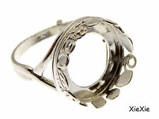 925 Sterling Silber Ring Rohling 14mm Fassung  (9096SH)