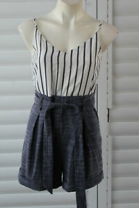 🚲SIZE 10 MISS VALLEY BLUE WHITE STRIPED CONTRAST CAMI SHORTS PLAYSUIT ROMPER