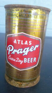 vintage Atlas Prager  Extra Dry Flat Top Beer can Keglined Chicago Illinois
