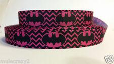 Grosgrain Ribbon, Hot Pink Chevron Batman Batgirl Super Heros, 7/8 Width