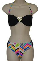Raisins bikini set swimsuit size M black brazilian bandeau 2 piece swimwear new