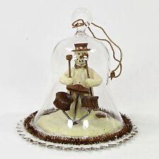 "Flurryville Collection YULETIDE TUNES 4"" Ornament Glass Bell Snowman Drum Set"