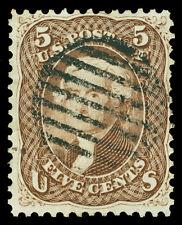 Scott 76 1863 5c Brown Jefferson Used Fine Black Grid Cancel Cat $120