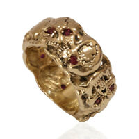 Masonic skull band mens 10K Gold ring Memento Mori Size 10.5 Ruby Color Stones
