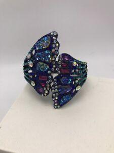 $125 Betsey Johnson Butterfly Dreams Drama Crystal Bangle Bracelet FF225