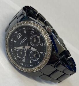 Women's Fossil Calendar Watch CE-1043 Sparkle Bezel Black New Battery