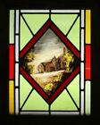 "VICTORIAN ENGLISH LEADED STAINED GLASS WINDOW  Farmhouse Oak Frame 13.5""x 16.25"""