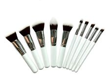 Pro 10 pcs white brush set Flat top foundation Face powder Contour High quality