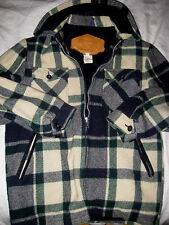 VTG WOOLRICH USA PLAID FAUX FUR FLEECE LINED WOOL JACKET-SUEDE LEATHER TRIM-M/S