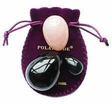 Yoni Eggs 3-pcs Set, Made of 2 Gemstones: Obsidian and Rose Quartz, Polar Jade