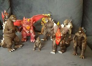 Huge Godzilla Figure Lot X9 Some Vintage Kaiju Horror Toy No Res