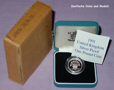 1991 ROYAL MINT SILVER PROOF £1 COIN IN CASE - Irish Flax Design - Cased & Boxed