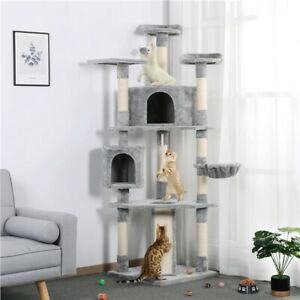 "79"" Cat Tree Bed Furniture Scratching Tower Post Condo Kitten Pet House Gray"