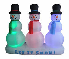 NEW Christmas Air Blown Inflatable Yard Decoration Snowmen Color LED Lights Show