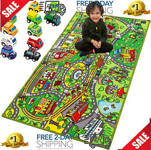Race Car Track Rug Play Mat Extra Large w/12 Cars Pull-Back For Kids Carpet Road