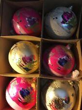 VINTAGE CHRISTMAS ORNAMENTS SANTA CLAUS MICCA POLAND SET OF 6 ORIGINAL BOX RARE!