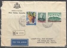 San Marino - Oct 23, 1961 Registered Airmail Cover to Canada