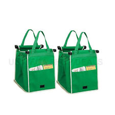 New 2x Supermarket Shopping Trolley Foldable Reusable Grocery Grab Clips Bag UK