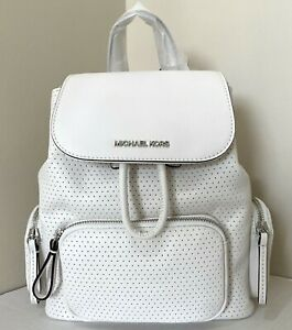 New Michael Kors Abbey Medium Backpack Perforated Vegan Faux Leather Optic White