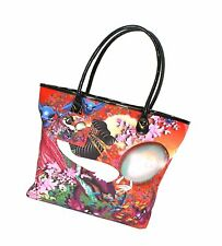 Ed Hardy Miguel Paredes Art Tote Shopper Shoulder Bag, Faux-Patent Handles