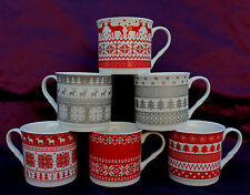 Set Of 6 Christmas Stoneware Mugs Reindeer Xmas Tree Snowflake Mugs Cups