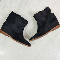 WITTNER   Womens Hidden wedge Black Suede Leather Boots Shoes [ Size EUR 38 ]