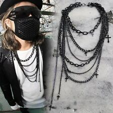 ByTheR Black Gothic Punk Chain Layered Cross Necklace Sensual Edgy Stylish