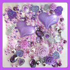 Purple Hearts Theme Cabochon Crystals & pearls flatbacks for decoden crafts