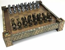 "GOTHIC DRAGON FANTASY MEDIEVAL TIMES CHESS Set CASTLE BOARD 17"" Silver & Gold"