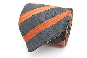 J. Ploenes Herren Krawatte 147cm 100% Polyester Schwarz Orange Gestreift #422