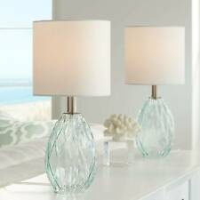 """Modern Accent Table Lamps 17 1/2"""" Set of 2 Blue Green Glass for Bedroom Office"""