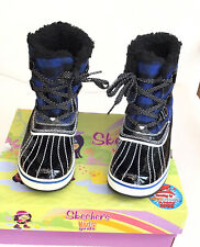 Girls Skechers Highlanders Black/Royal  Boots Size UK 13   BNWB