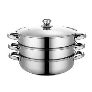 3/4 Tier 28cm Stainless Steel Steamer Cooker Pot Set Pan Cook Food Glass Lids