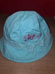 Baby Girls Sun Hat Blue Butterfly 0-6 Months