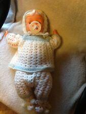 "Vintage LITTLE BOO HOO Baby Doll Goldberger Original Box 16"" Crochet Outfit"