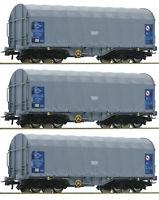 """Roco H0 76452-S Schiebeplanenwagen """"Shimmns"""" der VTG / SNCB (3 Stück) NEU + OVP"""